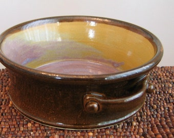 Ceramic Brie Baker in Chocolate Raspberry Caramel - Pottery Casserole Dish - Gourmet Cheese Server in Brown