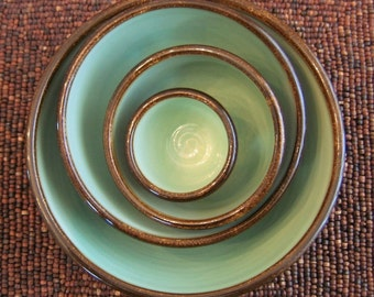 Ceramic Nesting Bowls in Mint Chocolate - Large Wedding Gift Set - Stoneware Pottery Stacking Bowls