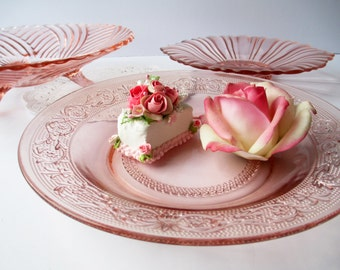Vintage Pink Depression Glass Serving Bowls and Dish Collection of Three - Weddings Bridal