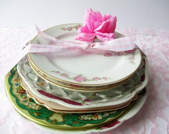 Mismatched China Plates Collection of Seven - Vintage Weddings Tea Parties