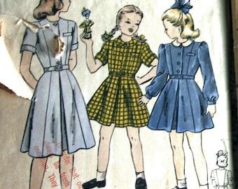1950s Vintage Girls Dress Pattern With Panel Cut Button Front Bodice Vogue 2424 Sz 8