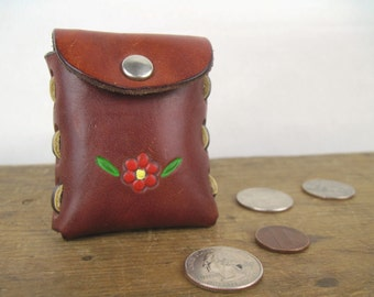 vintage 1980s Hand Tooled Leather Change Purse with Key Ring - NOS, deadstock from Walt Disney, new old stock