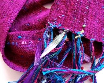 fuchsia handwoven warm scarf