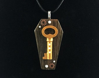 Steampunk Key Coffin Pendant Necklace