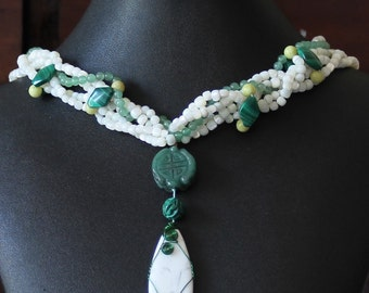 Shell and Green Stone Necklace