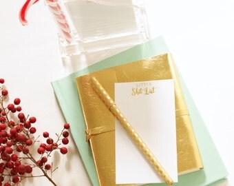 Desk Organizer - Little Shit List Memo Holder - Gold Foil - Shit List - Desk Set - Office Supplies  - Foil Stamp - Paper Holder - Pen Holder