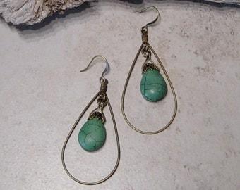 Antique Brass Teardrop Hoop Beaded Earrings, Green Magnesite Bead Earrings, Boho, Rustic,Green Earrings, Beaded Hoop Earrings