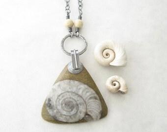 long boho pendant, ammonite fossil and silver necklace, oxidized jewelry, statement fossil pendant, rustic pendant necklace
