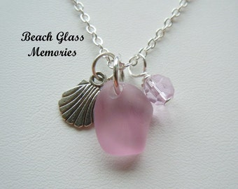 Sale Lavender Sea Glass Necklace Seaglass Sea Shell Necklace Beach Glass Jewelry