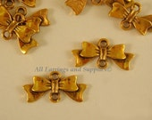 25 Gold Bow Link Connector Pendants Antique Gold 20x10mm - 25 pc - F4058LK-AG25