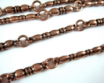 38in Handmade Chain Antique Copper Long & Short Banded Bars Textured Chain Not Soldered - 3 feet 2 inch - STR9080CH-AC38