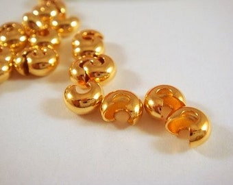50 - Gold Crimp Covers Bead Cover Brass 4mm Closed - 50 pc - 4883