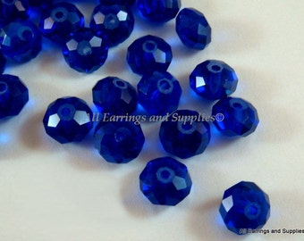36 Cobalt Blue Glass Bead Faceted Abacus 8x6mm - 36 pc - G6021-CB36