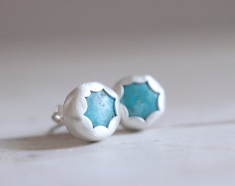 Turquoise earrings. Sterling silver Turquoise studs. Turquoise studs, Boho earrings, Blue Turquoise, silver studs, silver earrings.