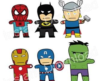 Superhero clipart, Batman clipart, Spiderman clipart, Ironman clip art, Hulk clipart, Captain America - INSTANT DOWNLOAD (09856)