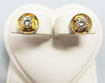 Two of Diamonds Yellow Gold and Diamond Stud Earrings