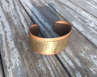 Wide Walnut Cuff Bracelet with Hammered Brass
