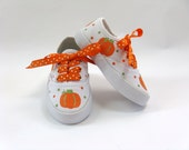 Girls Pumpkin Shoes, Thanksgiving Sneakers, Pumpkin Outfit, Pumpkin Costume, Fall or Autumn, Pumpkin Theme, Hand Painted, Baby and Toddler