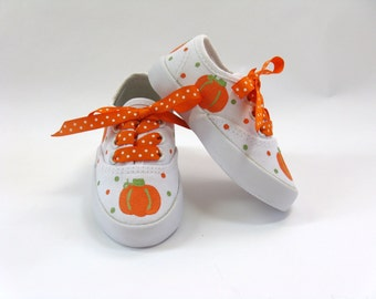 Girls Pumpkin Shoes, Thanksgiving Sneakers, Fall or Autumn Hand Painted Shoes for Baby or Toddler, Halloween Costume
