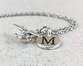 Silver Propeller Plane Charm Necklace, Personalized Airplane Charm Necklace, Initial Jewelry, Airplane Gift, Pilot Gift, Personalized Gift