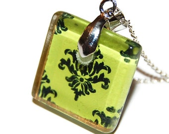 Glass Tile Pendant - Black and Green Glass Square Pendant with Silver Chain