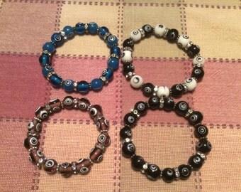 Murano Glass Evil Eye Stretch Bracelets