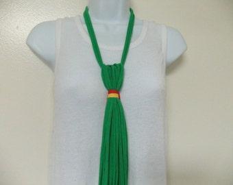 The Necktie T Shirt Fabric Statement Necklace Unisex Jersey Adjustable Bib Multi Strand Multi Colored Tribal Scarf