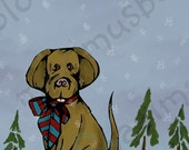 SALE! Holiday Mail! muddypawprints (4) greeting cards