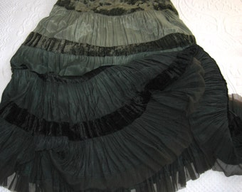 tiered skirt . green skirt . green velvet skirt . tiered velvet skirt . gypsy skirt . 5 shades of green . green ombre skirt