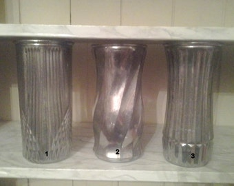 SALE! Faux Mercury Glass Vases, distressed silver glass vase