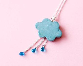 Cloud & Rain Ceramic Necklace