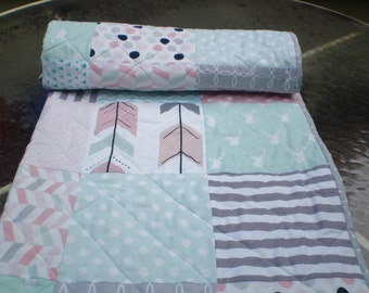 Baby quilt-baby girl quilt,baby girl bedding,Rustic Nursery,woodland baby quilt,toddler,mint green,coral,grey,deer,stag,arrows,Rustic Gal