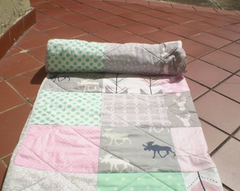 Modern Baby quilt-baby girl quilt,baby girl bedding,handmade crib quilt,rustic,woodland,pink,mint green,grey,deer,moose,arrows,Rustic Lass
