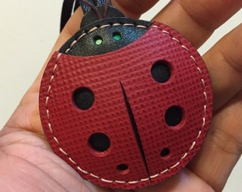 Small size - Penny the ladybug cowhide leather charm ( red saffiano leather / black )