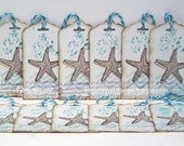 Starfish Tags #2...Set of 12...Blue and White...tags...Ocean Spray...Hand Stamped Tags...Wedding Tags...Bridesmaid Tags