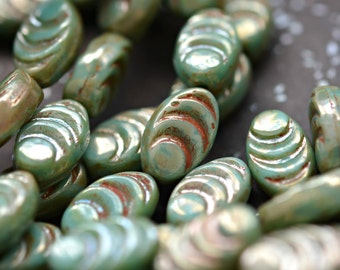 New Life - Czech Glass Beads, Opaque Turquoise Green, Silver Picasso, Cocoon Beads 13x8mm - Pc 8