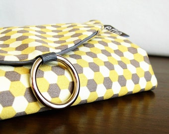Womens Travel Gift. Jewelry Organizer. Yellow Grey Honeycomb Hexagon Jewelry Roll. Jewelry Travel Case. Travel Gifts for Mom. Traveler Gift