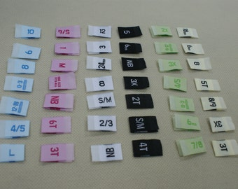 500 Premium Woven Label size tag Combo 2T, 3T, 4T, 5, 6, 7, 0-3 m, 0-6 m, 3-6 m, 6-9 m, 6-12 m, xxs, xs, s, m, L,and More Choose ur sizes