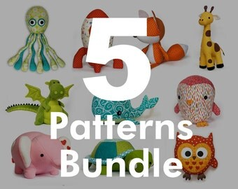 PDF 5 Sewing Patterns Bundle - choose any 5 stuffed toy patterns from my shop