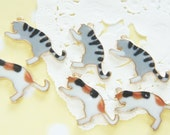 SALE 4 pcs Cat Printed Charm / Gold  (17mm30mm) AZ252 (((LAST/no restock)))