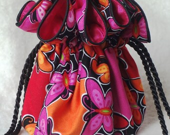 Pink Butterfly Jewelry travel Bag in pink and orange Jewelry Pouch organizer