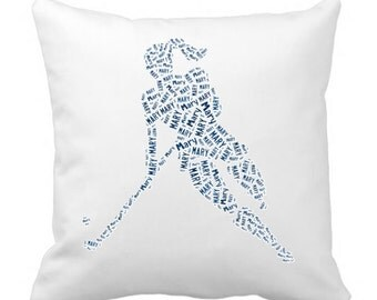 Personalized Pillow Cover Field Hockey Player Team Name Room Decor Gift