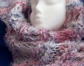 Knitted scarf shawl super soft in pink white purple colors