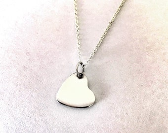 Silver Heart Necklace, Valentines Day gift, Simple Sterling Silver Heart Pendant, Plain Silver Heart, Bridesmaids Gift Set, Wedding Party