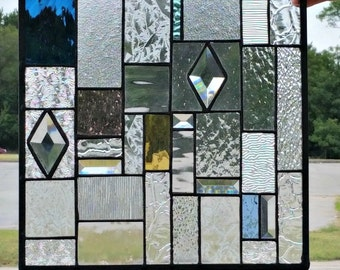 Stained Glass Hanging Panel - Clear Textures, Bevels and a Pop of Color (G-14)