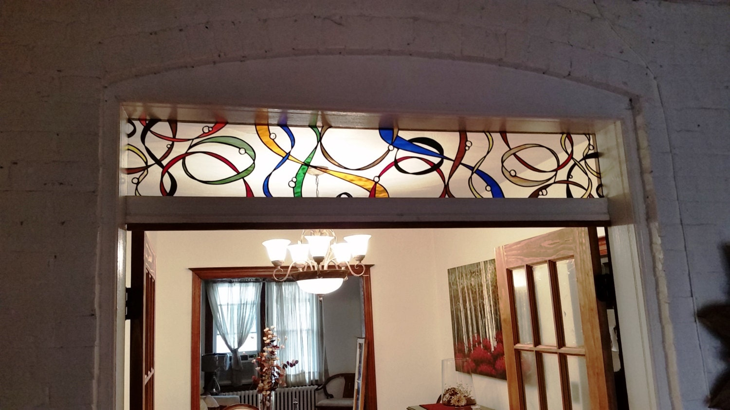 Stained Glass Transom Colorful Ribbons Tw 77