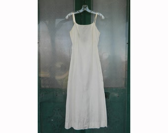 Vintage Long Ivory Satin Slip with Deep V Back