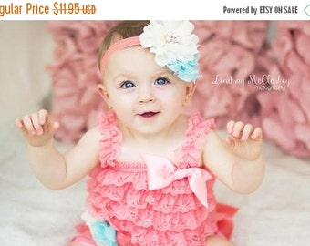 SALE Coral headband For Baby- Baby Girl Headband -Coral and Aqua Flower Headband -Baby Headband - Photo Prop