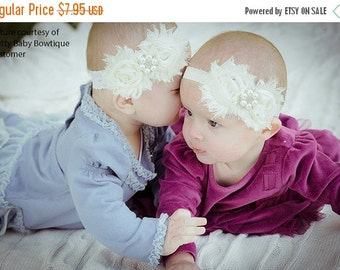 SALE Baby Baptism Headband..Newborn Girl Headband.. Baby Christening Cream Headband..Cream Lace Headband....Baby Headbands