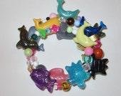 Girls Bracelet,Sea Life Bracelet,Stretch Bracelet,Girls Birthday Gift,Charm Bracelet,Fish,Turtle,Dolphin,Seal and Whale,#113